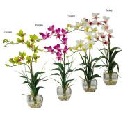 Dendrobium Silk Flower Arrangement with Glass Vase