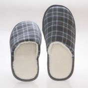 Mens House Slippers -memory Foam - Blue Chequered Cotton - Wool Fleece Lining 7-8 - Blue