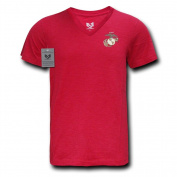 Rapiddominance Marine Military V-Neck Tee, Cardinal, X-Large