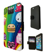 1495 - Cool Fun Trendy Cute Cupcake sweets candy burger sketch cartoon Kwaai collage Design iphone 6 6S 12cm Fashion Trend TPU Leather Flip Case Full Case Flip Credit Card TPU Leather Purse Pouch Defender Stand Cover