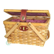 Gingham Lined Picnic Basket for Two with Folding Handles
