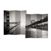 Black and White Bridge 4-Panel Double Sided Painted Canvas Room Divider Screen