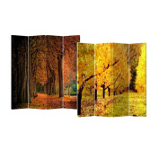 Fall Street 4-Panel Double Sided Painted Canvas Room Divider Screen