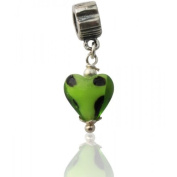Charmies Glass Heart Charm Bead. Compatible with Pandora, Amore Baci, Chamilia... & Silver 925
