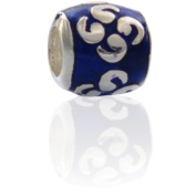 Charmies Silver and Blue Enamel Bead. Compatible with Pandora, Amore Baci, Chamilia... & Silver 925