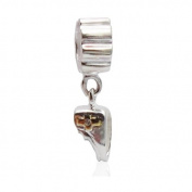 Charmies Silver and Shoe Charm in fine Gold Plating-Compatible with Pandora, Amore Baci, & Chamilia... Silver 925