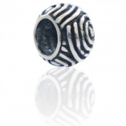 Spiral Charmies Flower Bead in antique Silver/Compatible with Pandora, Amore Baci, Chamilia... & Silver 925
