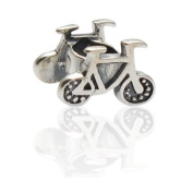 Bicycle Charmies Flower Bead in antique Silver/Compatible with Pandora, Amore Baci, Chamilia... & Silver 925