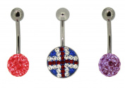 Bodylicious Stainless Steel Crystal Fuchsia Blue Union Jack Body Bar Set Of 3