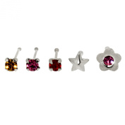 Bodylicious Sterling Silver Flower Star Nose Stud Wire Set Of 5