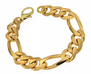 Figaro Chain Bracelet, Gold Plated, 13mm Length Choosable, Directly From The Italian Factory