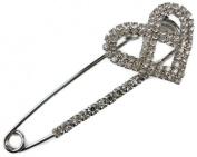 Signature Tiara Silver Cross Heart Crystal Kilt Pin Brooch