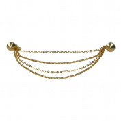 Evelots Goldtone Round Stud Collar Brooch Pin, . Shawl/Sweater Collar Clip