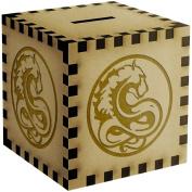 Circular Animal Motif Engraved Wooden Money Box / Piggy Bank
