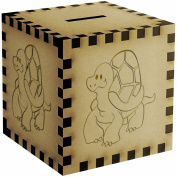 Happy Tortoise Engraved Wooden Money Box / Piggy Bank