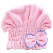 Cute Womens Coral Velvet Hair Drying Towel Wrap Bowknot Turban Hat for Bath Spa