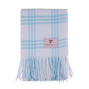 Softest Cotton Cheque Baby Blanket-Soft Blue