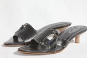 TOD'S Women's Brigitte Blk Leather Kitten Heel Slide Sandals Shoes US 7 / 37 NEW