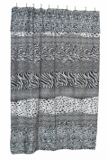 """Carnation Home Fashions """"Animal Instincts-Snow Leopard"""" Faux Fur Trimmed Shower Curtain, Packed with a PEVA Shower Liner, 180cm by 180cm"""