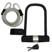 U-Lock Bike Lock Heavy Duty High Security with 1.8m Security Cable and Mounting Bracket