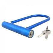 Motorcycle Bicycle Security Blue Plastic Coated Alloy U Shape Lock w 2 Keys