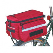 Bushwhacker Mesa Red - Bicycle Trunk Bag Cycling Rack Pack Bike Rear Bag - w/ Rear Light Clip Attachment & Reflective Trim