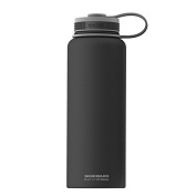 Asobu, The Mighty Flask, Wide Mouth Insulated Water Bottle, Stainless Steel, 1180ml, Black