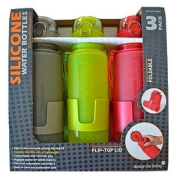 Design for Living Silicone Foldable Water Bottle with Flip-top Lid and Strap 650ml - Grey, Lime-green & Red 3-pack