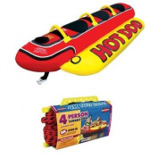 Airhead Hot Dog Triple Rider Towable 3-Person Tube w/ Tow Rope | HD-3 + 57-1532