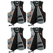 (4) Stearns Men's Adult Large V1 Series Deluxe Hydroprene Life Jackets | Grey