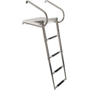 4-Step Telescoping Boat Ladder with Swim Platform & Handrails