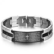 JewelryWe Stainless Steel Black Silver-Tone Religious Cross English Lords Prayer Mens Bracelet