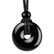 Amulet Lucky Coin Shaped Donut Black Agate Charm Magic and Protection Powers Pendant Necklace