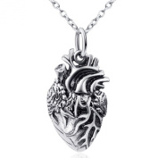 DACHMA 925 Sterling Silver Anatomical Human Heart Pendant Necklace,46cm - Unisex