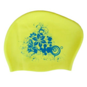 Ladies Fashion Lily Silicone Swimming Cap Waterproof Ear Wrap Hat, Yellow