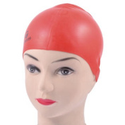 Women Men Dome Shape Interior Nonslip Stretchy Swimming Cap Hat Red