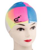 Multicolor Soft Silicone Elastic Bubble Swimming Swim Cap for Adults