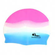 Stretchy Grain Design Soft Silicone Water Swim Cap Hat White Blue Fuchsia