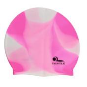 Unisex Adult Pink White Soft Silicone Elastic Swimming Cap Hat