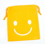 Yellow White Smiling Face Printed Cartoon Drawstring Jewellery Box Pouch Case