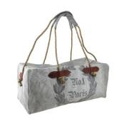 No.1 Paris Print Grey Cotton Canvas Duffle Bag w/Rope Handles