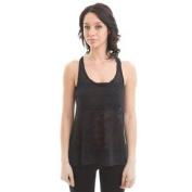 Zenana Outfitters Women's Racerback Burnout Tank Top, Black-Medium