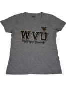 West Virginia Mountaineers Gear for Sports Women Grey V-Neck Bling T-Shirt