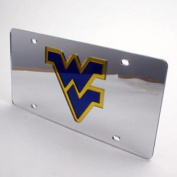 West Virginia Mountaineers Inlaid Acrylic Licence Plate - Silver Mirror Background