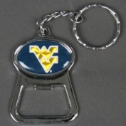 West Virginia Mountaineers Metal Key Chain And Bottle Opener W/domed Insert - Blue Background