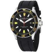 Stuhrling Original Men's 706.04 Aquadiver Regatta Diver Sport II Quartz Date Yellow Accent Rubber Strap Watch
