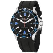 Stuhrling Original Men's 706.02 Aquadiver Regatta Diver Sport II Quartz Date Blue Accent Rubber Strap Watch