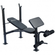 Incline / Flat Exercise Free Weight Bench w/ Curl Bar / Leg Extension
