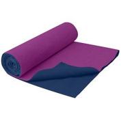 Gaiam No-Slip Yoga Towel, Grape/Navy