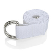 1.8m D-Ring Buckle Yoga Strap, Yoga Accessories - White